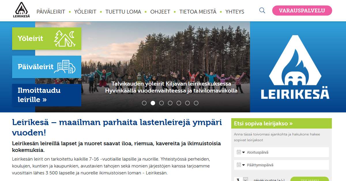 Leirikesä otti käyttöön uudistetun verkkosivuston